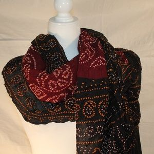 Large black & maroon wrap, 80x40